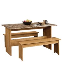 Sauder Beginnings Trestle Dining Table With Benches, Multiple Finishes