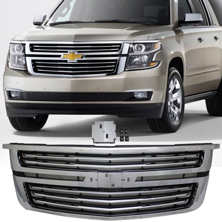 - Ikon Motorsports Grille - Fits 15-17 Chevy Tahoe LTZ Style Front Upper Factory Grill Grille Chrome