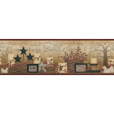 - Brewster Home Fashions The Cottage Caring Candles 15' x 6'' Wallpaper Border