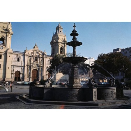 Bronze Fountain in the Plaza De Arms Print Wall Art