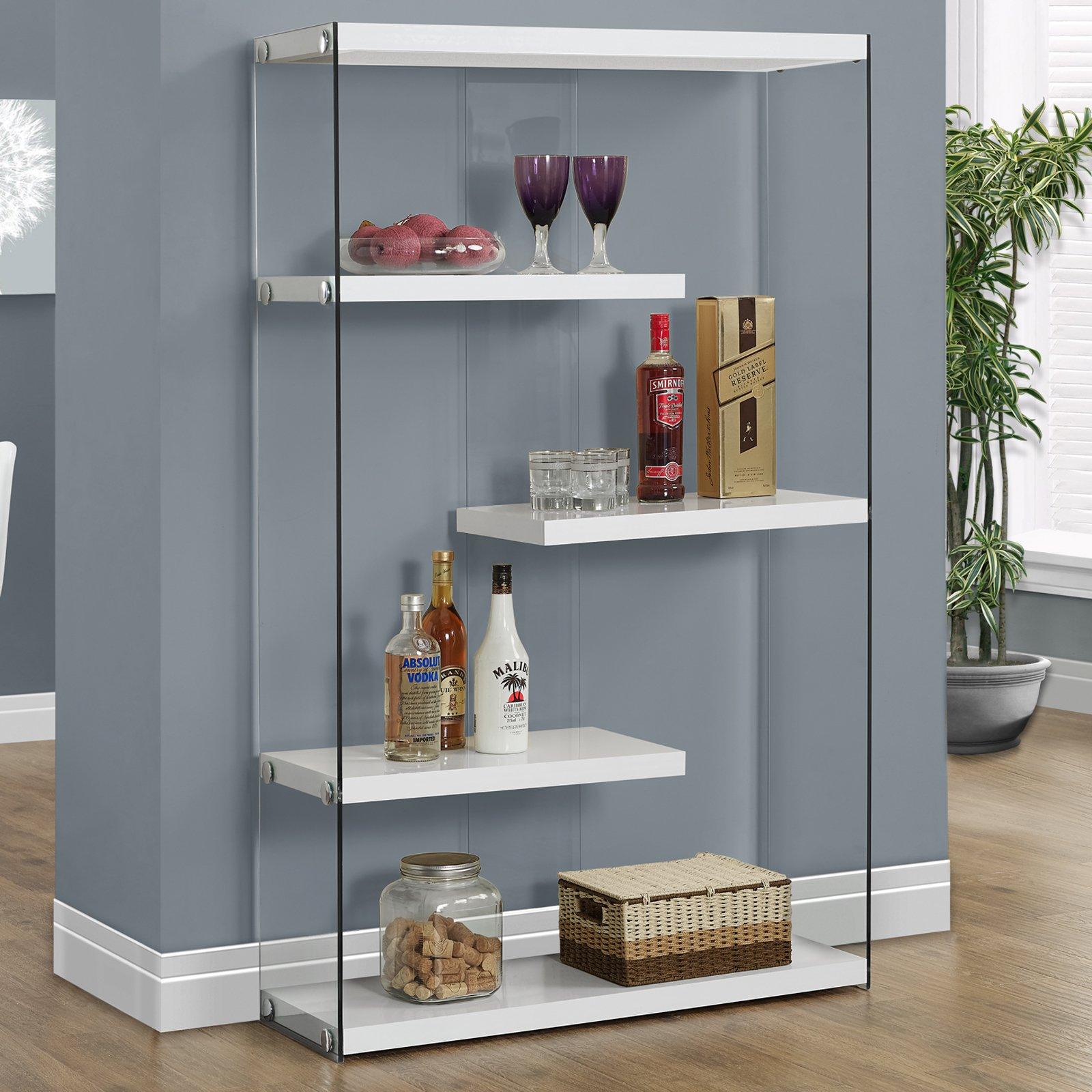 "Monarch Bookcase 60""H / Dark Taupe With Tempered Glass"