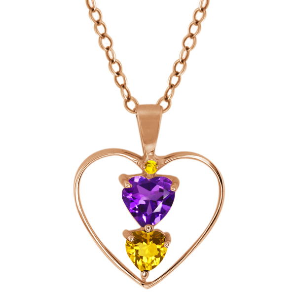 0.69 Ct Heart Shape Purple Amethyst Citrine Gold Plated Sterling Silver Pendant
