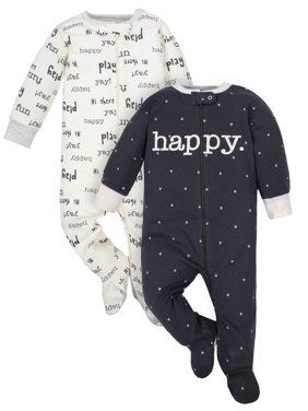 Wonder Nation Baby Boy or Girl Gender Neutral Pajamas Zip Front Sleep 'N Play with Mitten Cuffs, 2-Pack