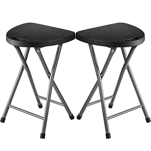Folding Stool (Set of 2) Portable Plastic Chair with Durable Steel Frame Legs for 220 Pound Capacity, Easy Carry Handle, Weather and Impact Resistant for Indoor/Outdoor Use, 18-Inch, Black