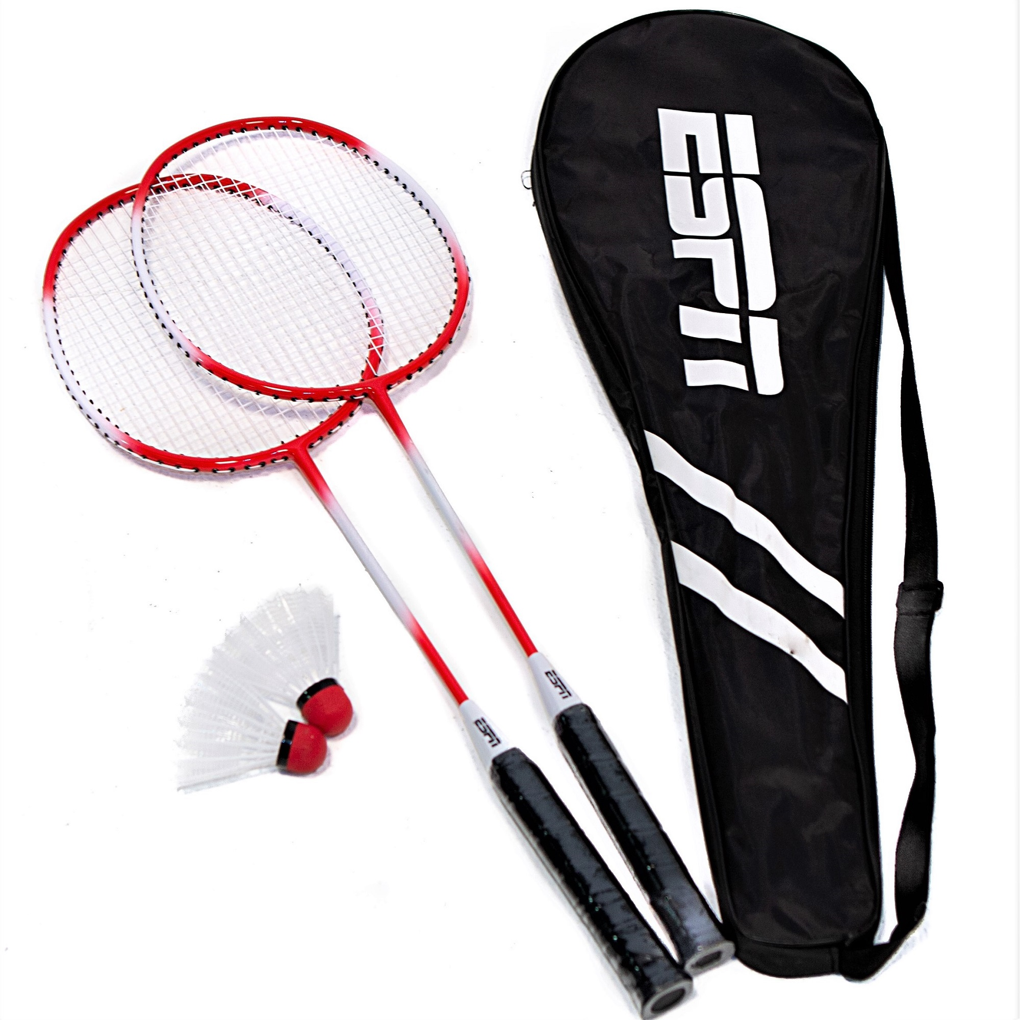 ESPN 2-Player One-Piece Aluminum Alloy Badminton Racket Set with Carry Bag, Lightweight, Two racquets and two shuttlecocks