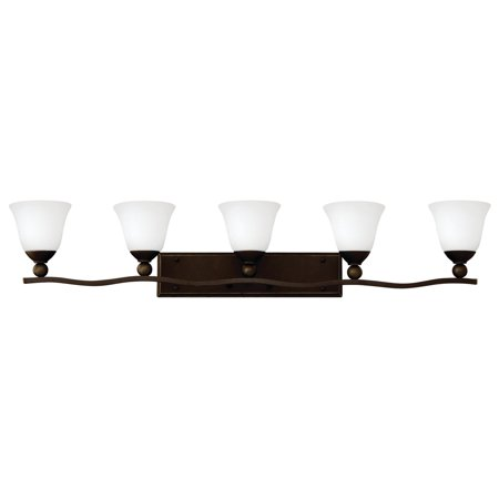 """Hinkley Lighting 5895-OPAL 5-Light 45.75"""" Width Bathroom Vanity Light with Etched Opal Shade from the Bolla Collection"""