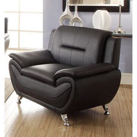 Leather Rectangular Chair (Norton Black Faux Leather Modern Chair )