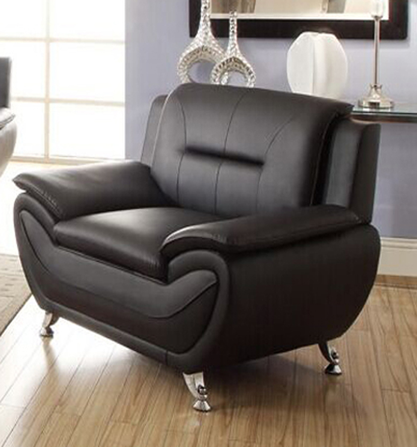 Norton Black Faux Leather Modern Chair