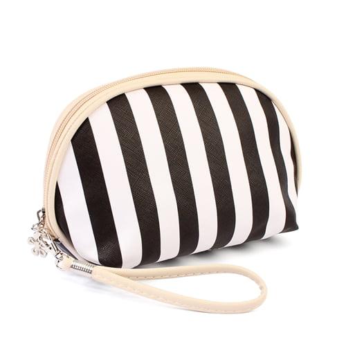 Riah Fashion STRIPED COSMETIC BAG