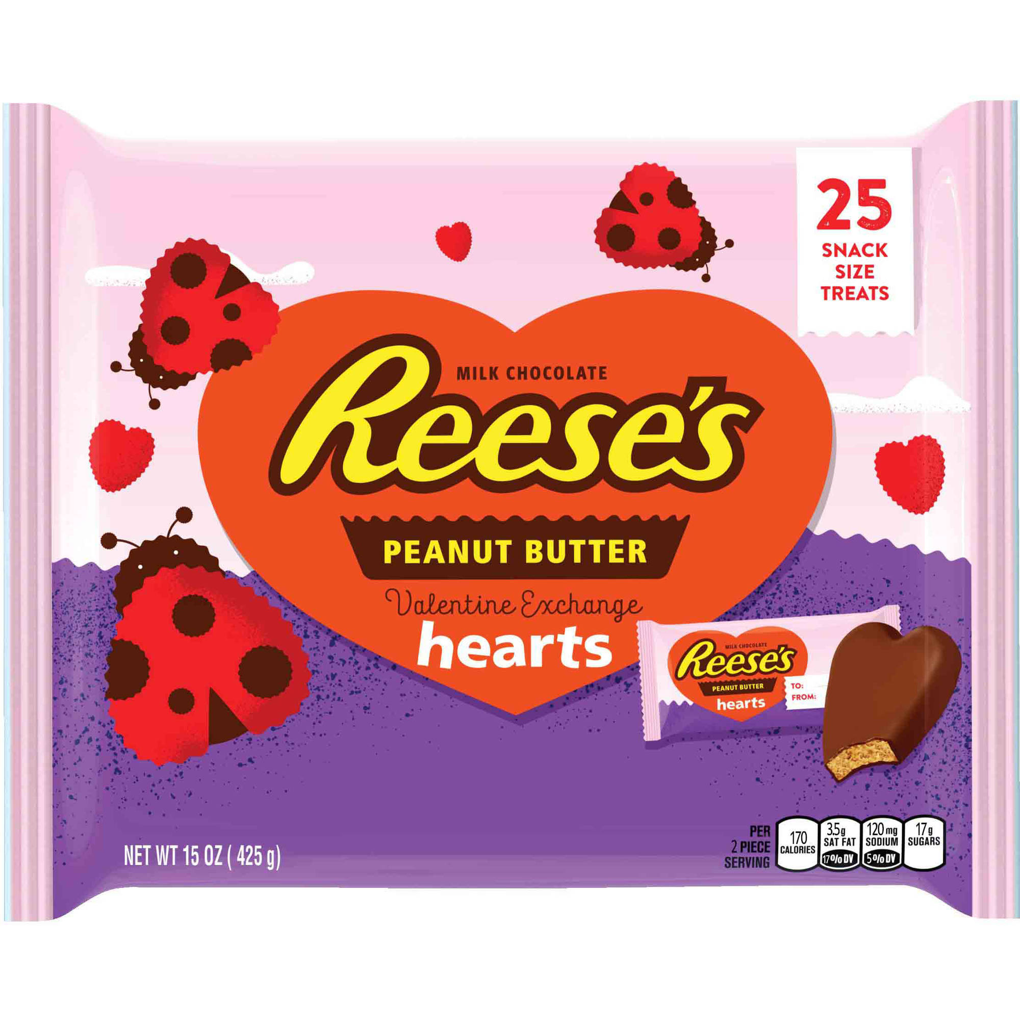 Reese's Valentine's Exchange Peanut Butter Hearts Candy, 25 ct, 15 oz