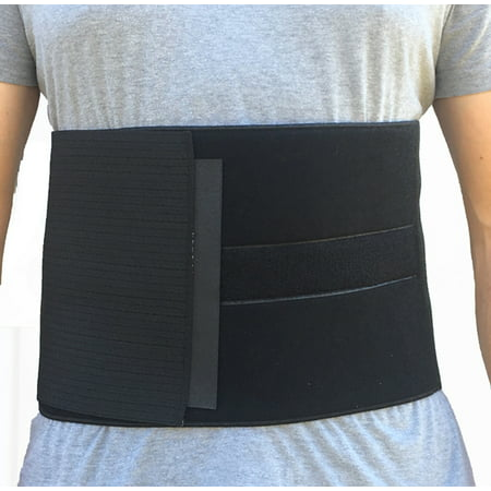 Alpha Medical Abdominal Binder Support Wrap/ Surgical Binder / Hernia Support /Abdominal Hernia Reduction Device (Black ; 10
