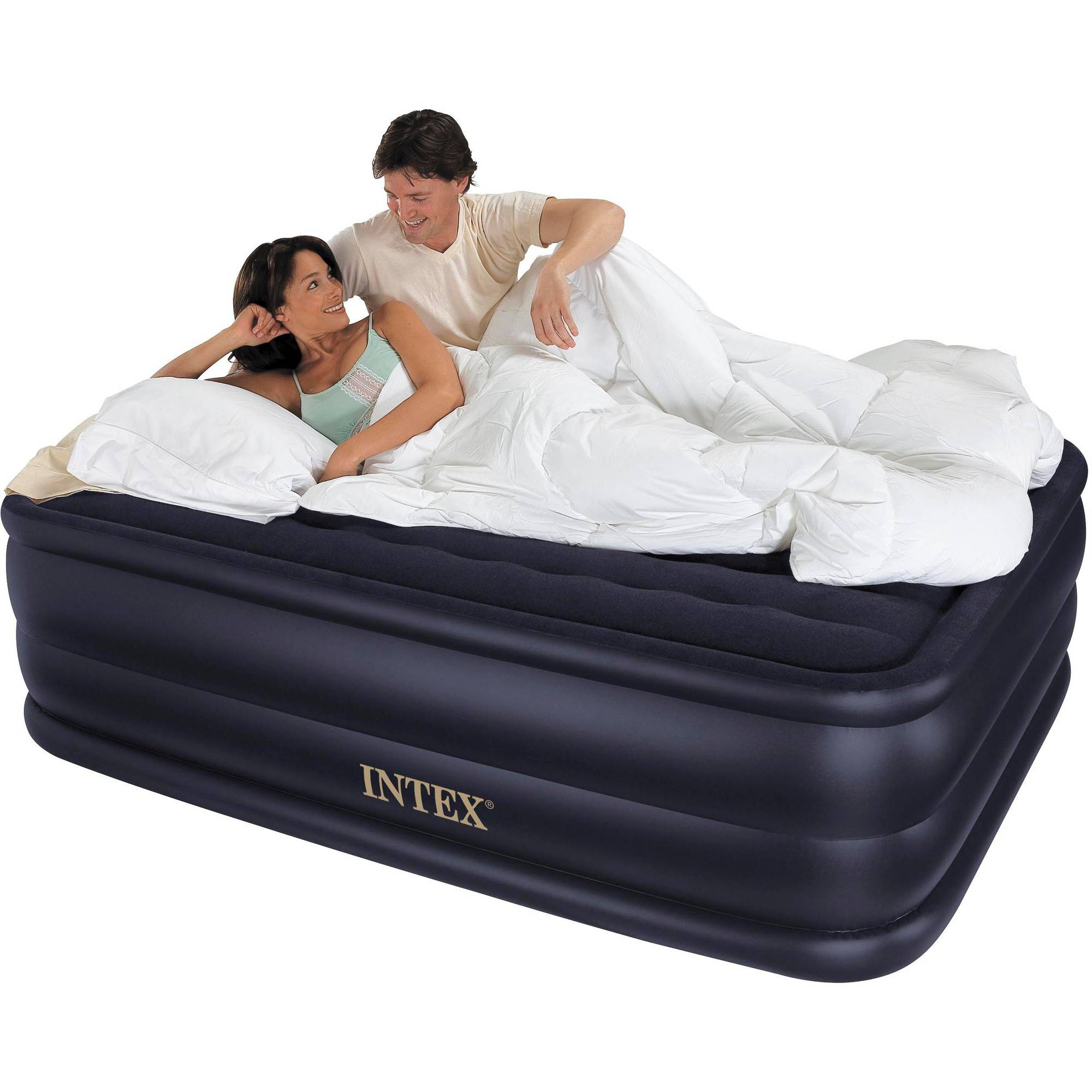 "Intex Queen 22"" Raised Downy Airbed Mattress with Built-in Electric Pump"