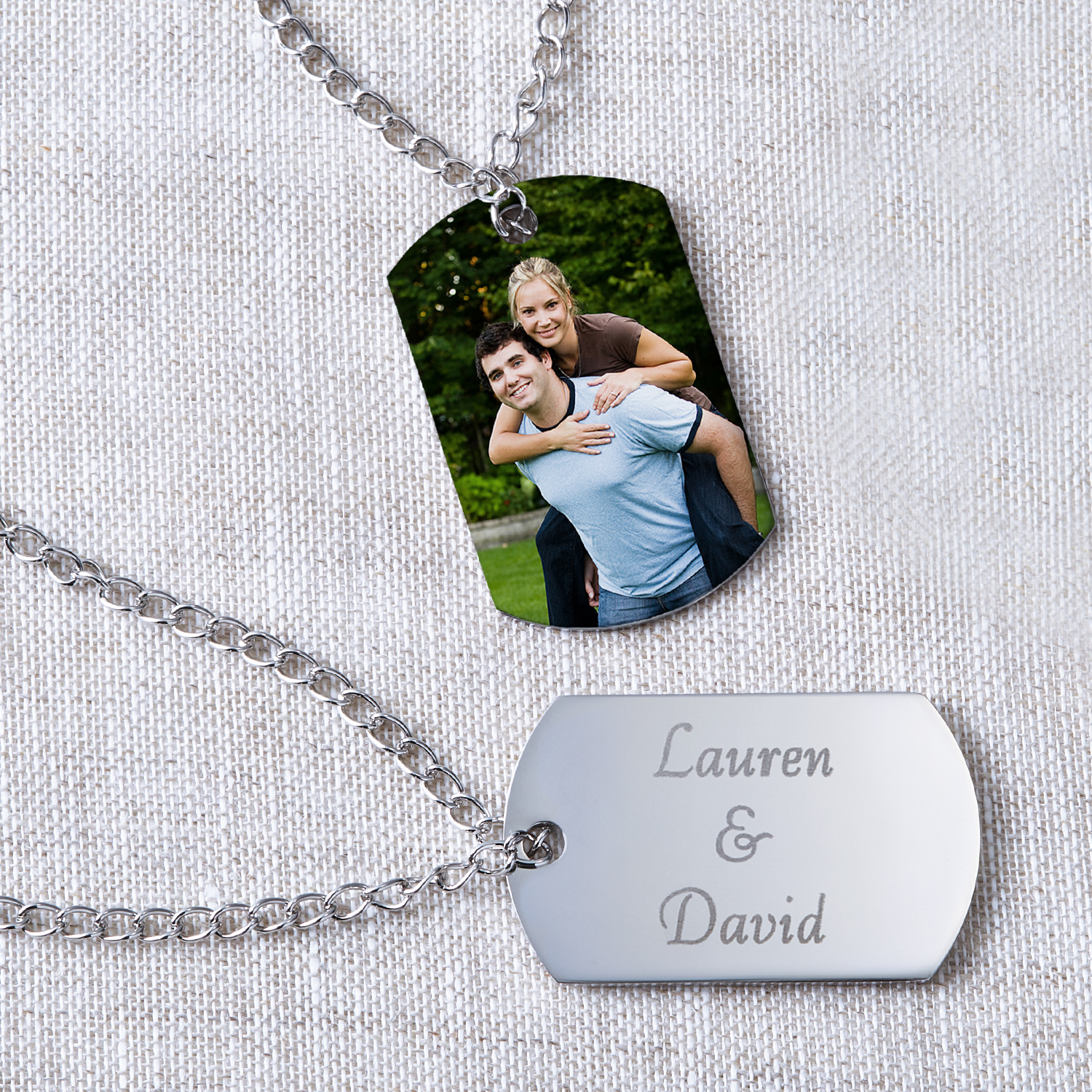 Personalized Photo Pendant -- Dog Tag Style