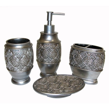 Famous home kasbar 4 piece accessory set silver for C bhogilal bathroom accessories