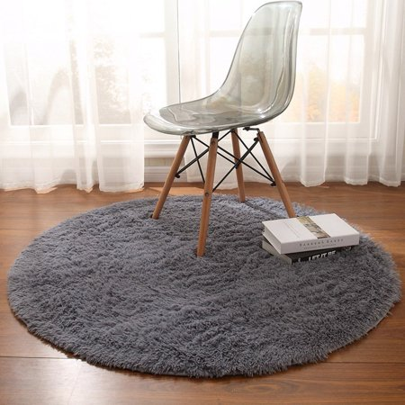 Meigar 5 Sizes Super Soft Fluffy Area Rug Anti-Skid Round Thick Carpet for Living Room Bedroom Decor,Gray ()