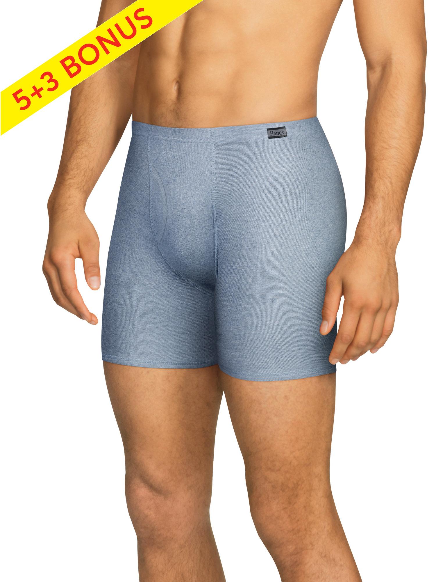 Hanes - Hanes Men's Tagless ComfortSoft Waistband Boxer Brief, 5 + 3 Bonus Pack - Walmart.com