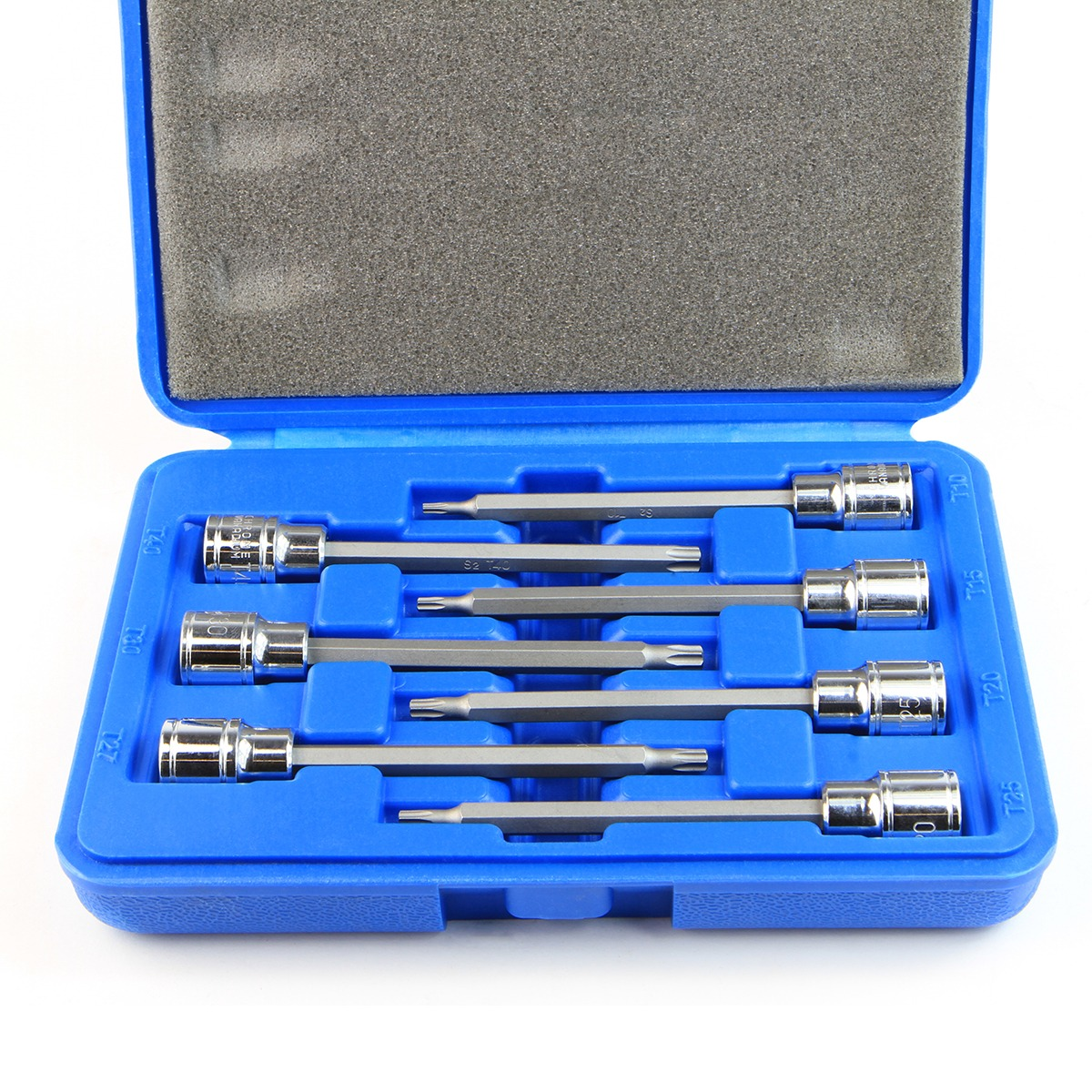 "3/8"" Drive Long Tamper Proof Torx Star Bit Sockets Tool Set with Case, 7PC"