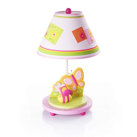 Hand-painted & Hand Crafted Gleeful Bugs Kids Table Lamp, Hand painted children's table lamp features flowers, a butterfly and bumble bee in.., By (A11 Lamp)