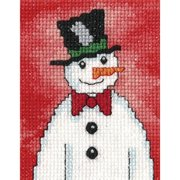 "Snowmen I Snowman W/Top Hat Counted Cross Stitch Kit-2.75""X3.5"" 14 Count"