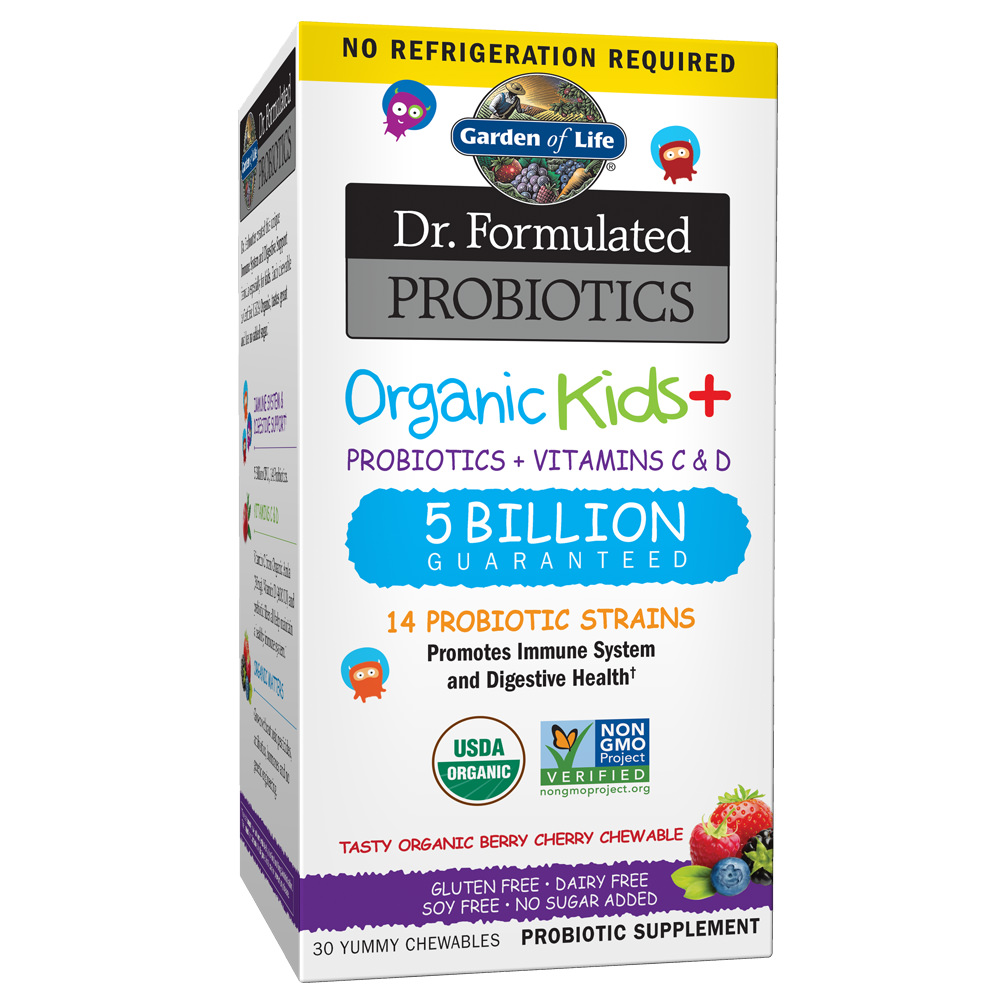 Garden of Life Dr. Formulated Probiotics Organic Kids Berry Cherry Shelf Stable 30 Chewable Tablet