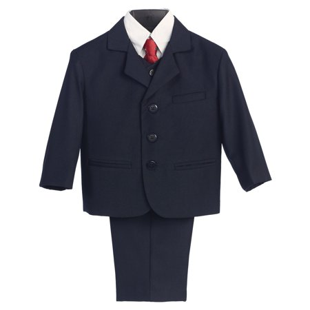 Little Boys Navy Special Occasion Wedding Easter 5pc Suit Set 12M-14 (Easter Skit)