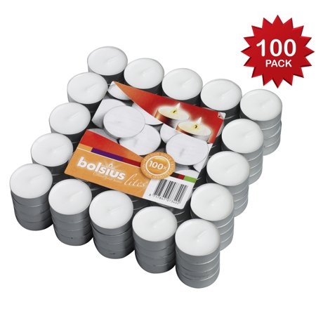 Bolsius 100 Pack Unscented White Tea light Candles Burns Aprx. 3.5 Hour (Teal Candles)