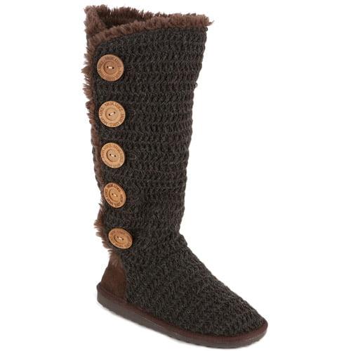 MUK LUKS Womens Malena Crochet Button Up Boot