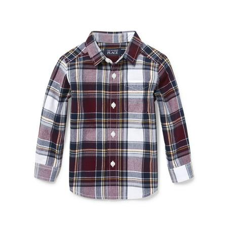Baby And Toddler Boys Long Sleeve Plaid Poplin Button-Down Shirt Boys Long Sleeve Plaid Shirt