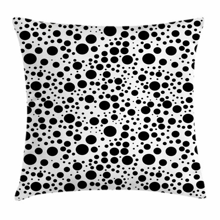 Black And White Throw Pillow Cushion Cover Big And Small Dots Black Color Spots Graphic Simplistic Bubbles Pattern Decorative Square Accent Pillow