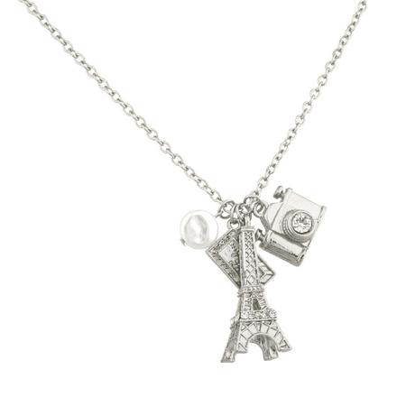 Avon Faux Necklace (Lux Accessories Eiffel Tower Paris Pave Camera Tourist Faux Pearl Charm Necklace. )