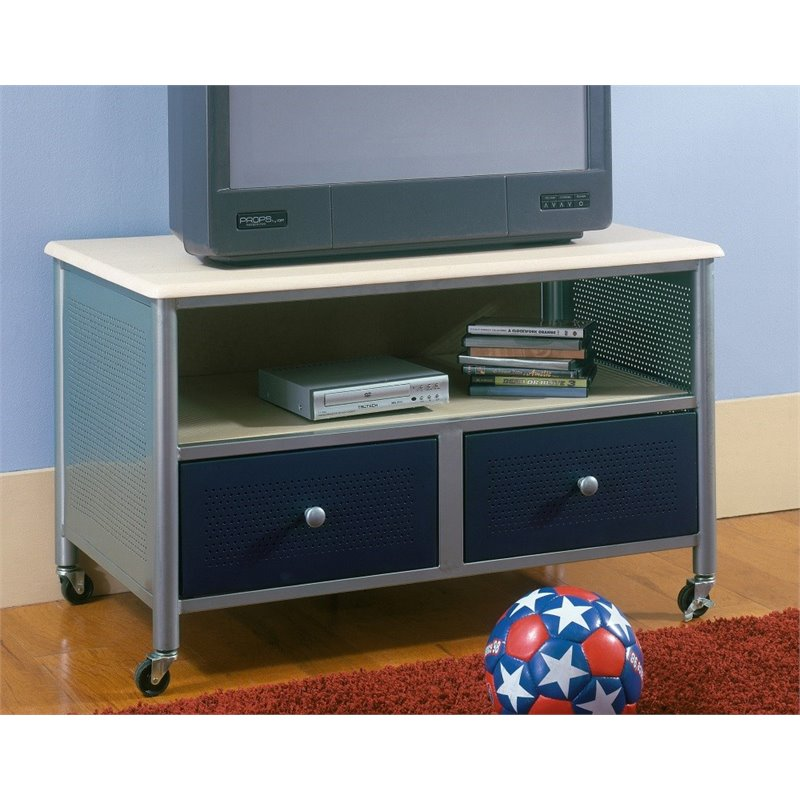 Hillsdale Brayden Youth TV Stand in Silver & Navy