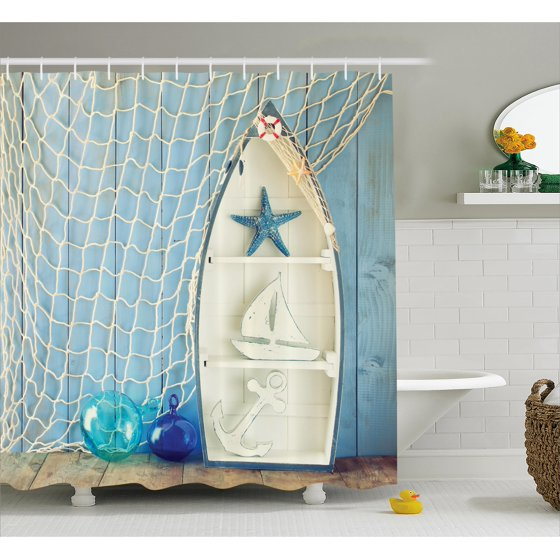 Nautical decor shower curtain sea objects on wooden with for Walmart fish decor