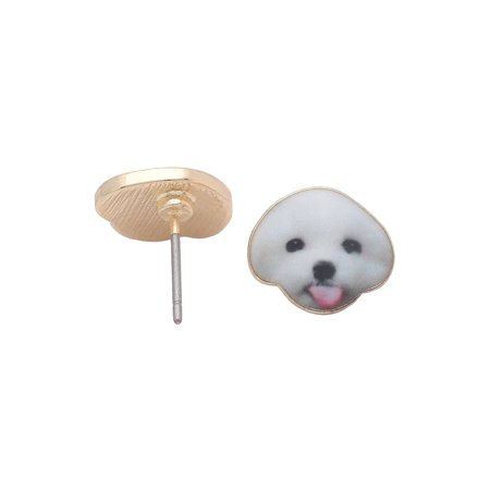 Shichon White Teddy Bear Puppy Dog Stud Earrings Enamel From the Ginger Lyne Collection