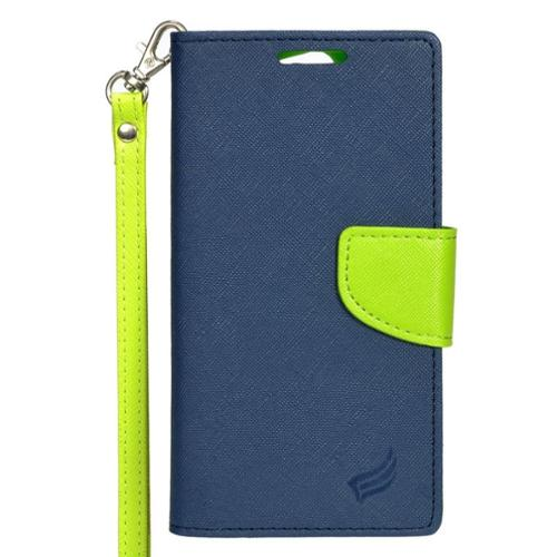 Insten Wallet Leather Phone Case Lanyard with Stand & Card slot For Alcatel One Touch Fierce XL - Dark Blue/Green