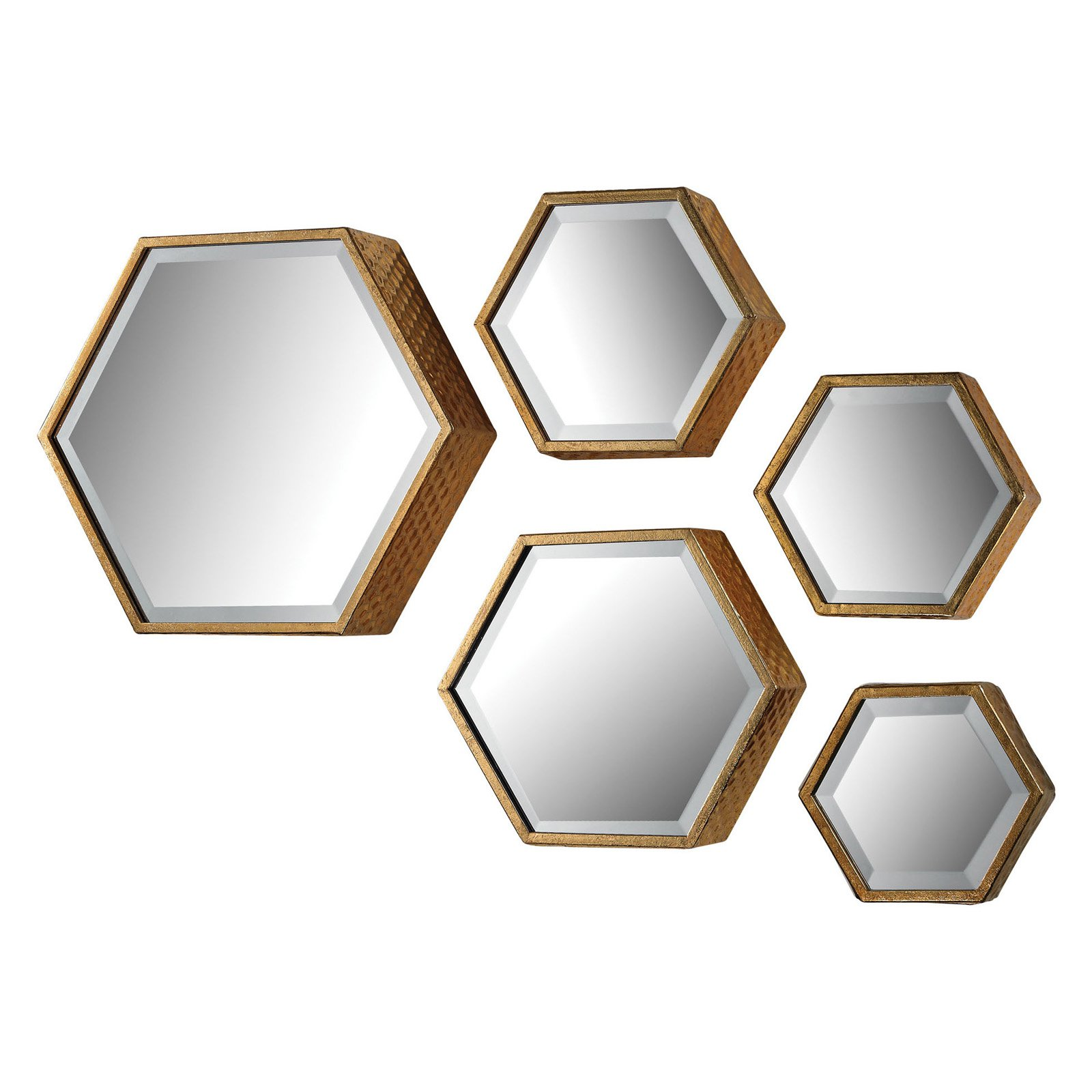 Sterling Hexagonal Beveled Wall Mirrors - Set of 5