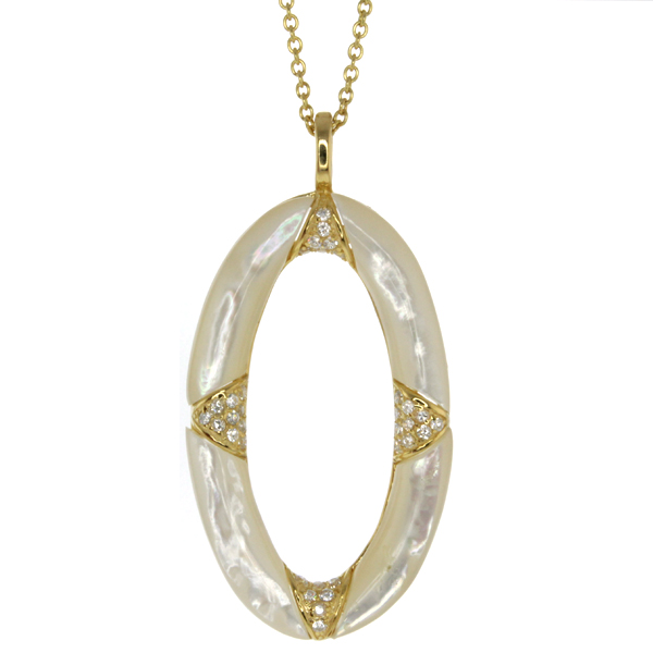 Gold Plated Sterling Silver Oval Ring Mother of Pearl and Cubic Zirconia Pendant
