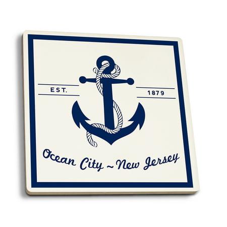 Ocean City, New Jersey - Blue & White Anchor - Lantern Press Artwork (Set of 4 Ceramic Coasters - Cork-backed, Absorbent)