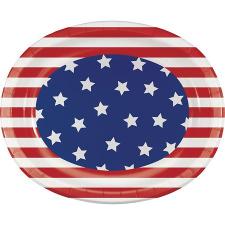 Pack of 96 Patriotic American Flag Themed Oval Party Platters 12