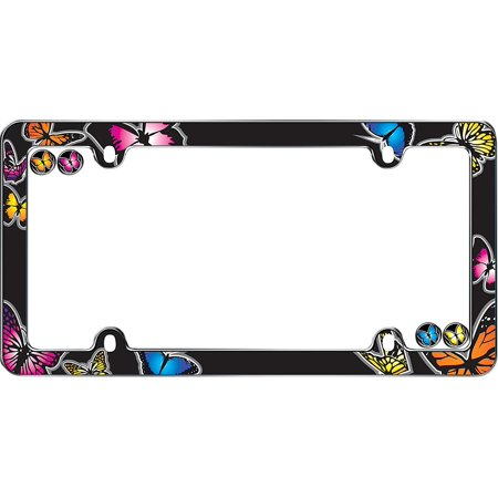 23053 Chrome 'Butterfly' License Plate Frame, A flutter of colorful butterflies printed with UV resistant inks that protect the image from.., By Cruiser Accessories ()