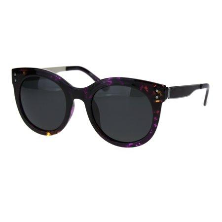 Polarized Lens Womens Trendy Round Horn Rim Hipster Sunglasses Purple Brown Tort (Trendy Sunglasses For Ladies)