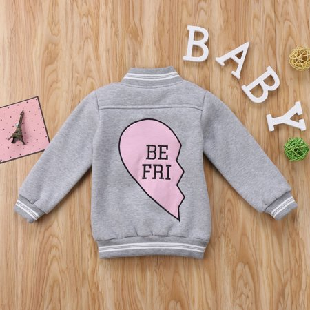 Toddler Baby Boys Girls Fleece Jacket Outerwear Long Sleeve Best Friend Letter Print In