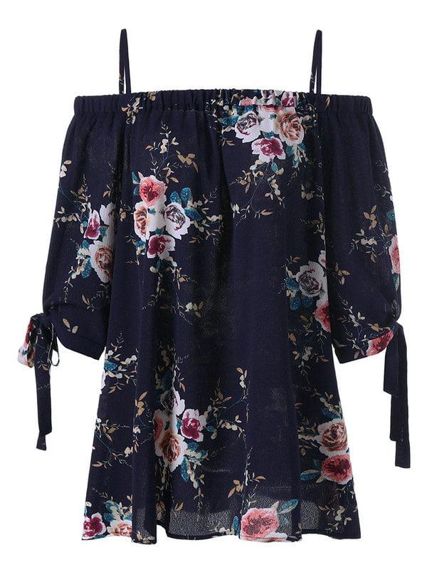 AKFashion Women's Plus Size Spaghetti Strap Elbow-Length Sleeve Irregular Floral Blouse Tops