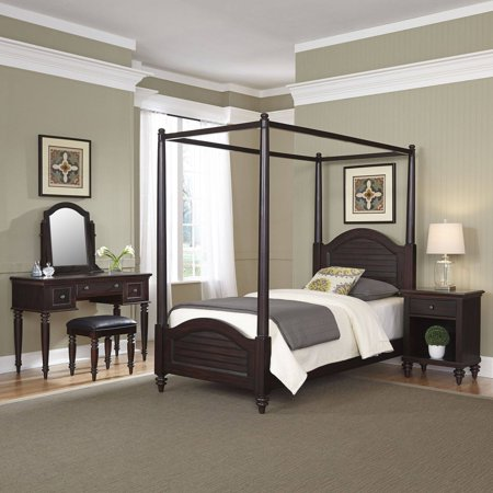 Home Styles Furniture Bermuda Espresso Twin Canopy Bed, Night Stand and Vanity with Bench