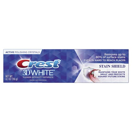 Crest 3D White, Whitening Toothpaste Stain Shield, 4.1 (Crest 3d White Strips Stain Shield Directions)