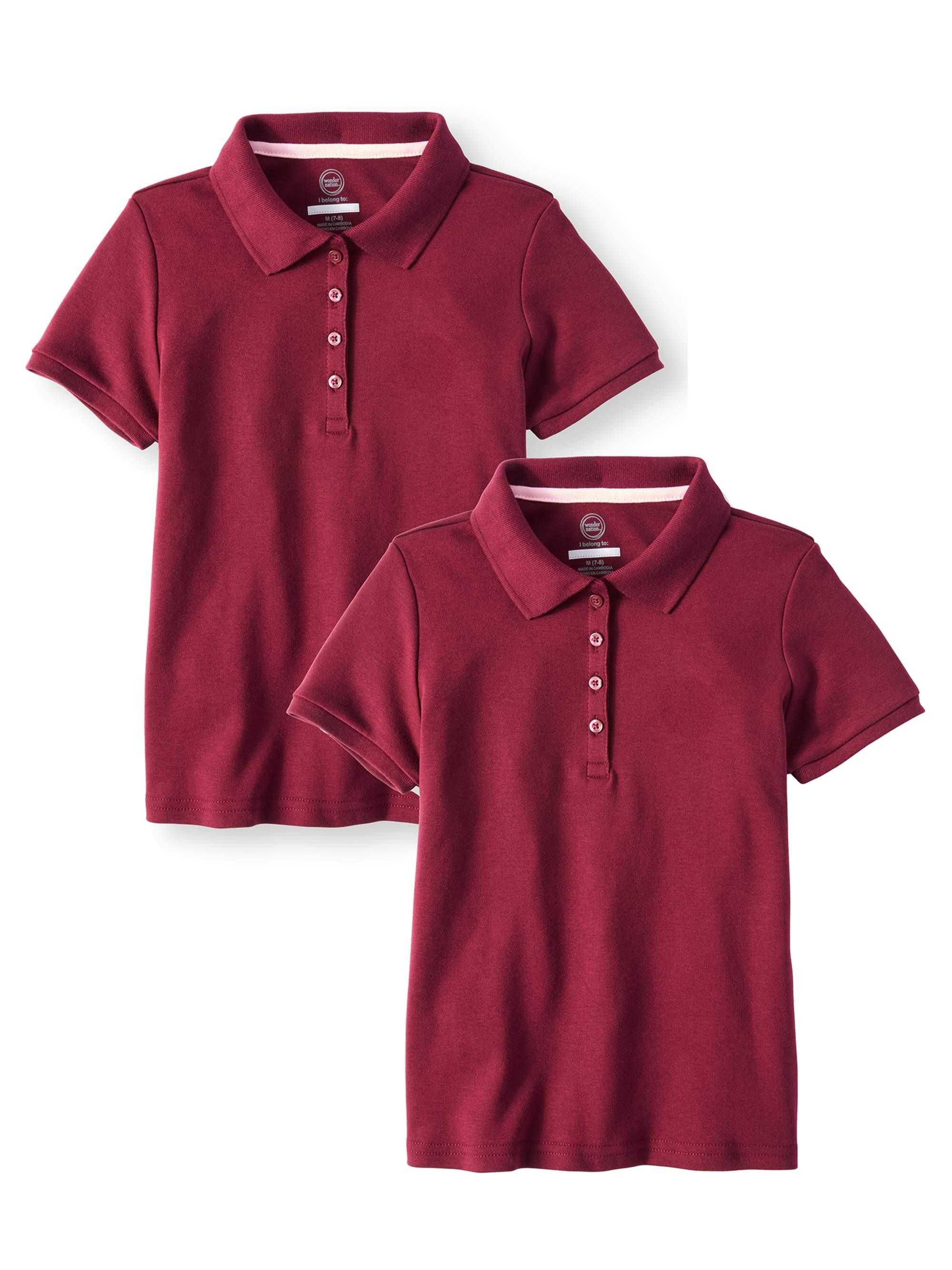 Girls School Uniform Short Sleeve Interlock Polo, 2-Pack Value Bundle