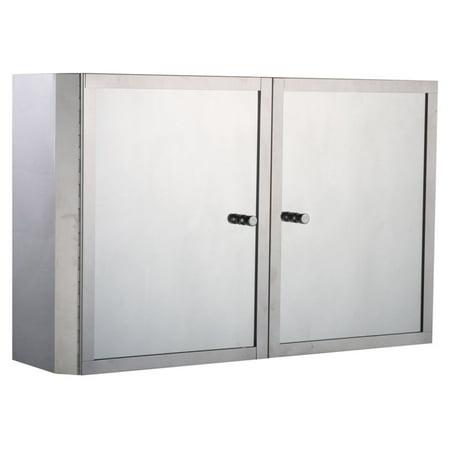 HomCom 20 in. Stainless Steel Double Door Bathroom Mirror Medicine Wall (Mirror Door Medicine Cabinet)