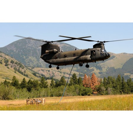 LAMINATED POSTER A CH-47 Chinook Helicopter from the Montana Army National Guard B Company, 1/189th General Support A Poster Print 24 x 36