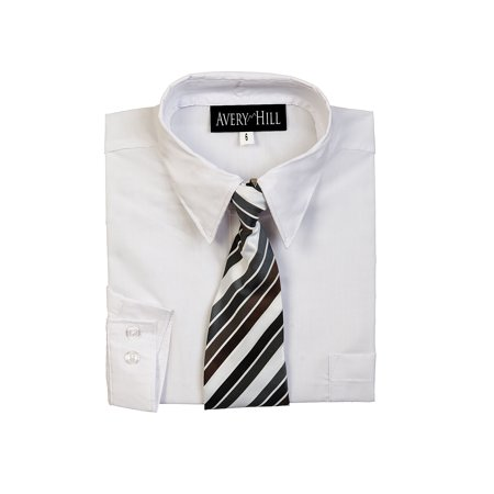 Avery Hill Boys Long Sleeve Dress Shirt with Windsor Tie - White Dress Shirt Boys