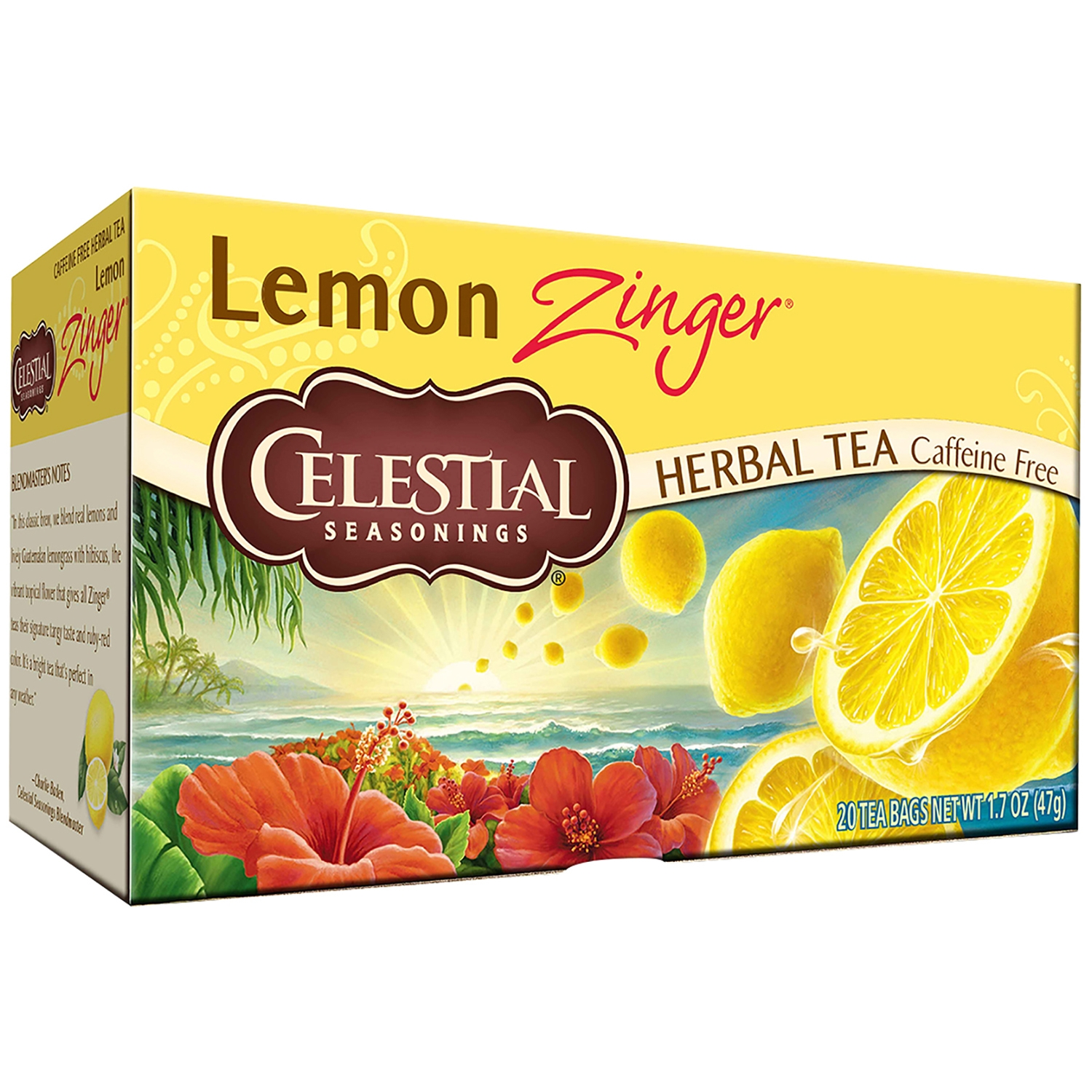 Celestial Seasonings Lemon Zinger Herbal Tea Bags, 20 count