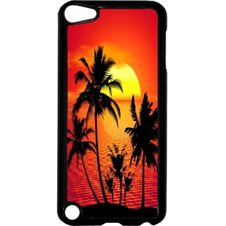 Tropical Sunset   - Hard Black Plastic Case Compatible with the Apple iPod Touch 6th Generation - iTouch 6 Universal (Itouch 2 Generation)
